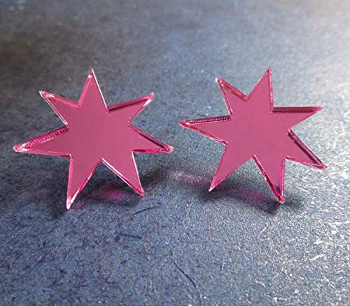 Shiny Pink Jem Star Cosplay Earrings -