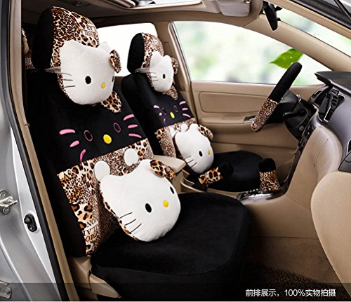 Price comparison product image 1 Set Hello Kitty Lovely Cartoon Car Front and Rear Seat Covers Car Steering Wheel Cover (leopard)