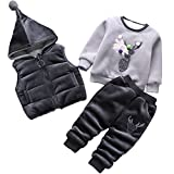 Stven Hetick Boys' Winter Three Piece Plus Velvet Sweater 1-4 Years Old Baby Boy and Thickened Set Black B100.