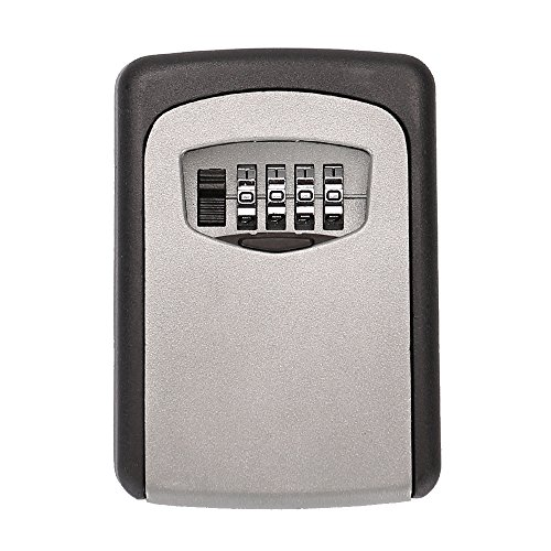 Tekmun Realtor Wall Mount Key Lock Box with 4-Digit Combination Made of Weather Resistant Steel for Indoors or Outdoors Holds up to 5 (Old Hide House)