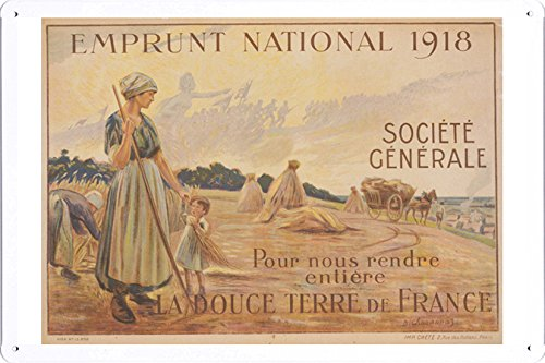 world-war-i-one-tin-sign-metal-poster-reproduction-of-emprunt-national-1918-societe-generale-pour-no