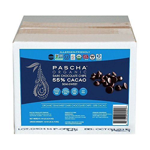 - Pascha Bulk Organic Semi-Sweet Chocolate Chips, 55% Cacao, 10 Pound