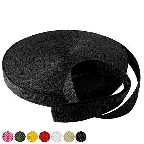 """Black Polypropylene Webbing 50 Yards x 1-inch; 1"""" Wide Black Polypro Strap Webbing; Great for Bags, Outdoor Gear; Collars, Leashes, Halters, Sporting Gear & More"""