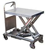 Stainless Portable Lift - BCART-PSS Series; Platform Size (W x L): 19-3/4'' x 32-1/2''; Capacity (LBS): 750; Service Range: 15-1/2'' to 35-1/2''; Foot Pump Speed: One