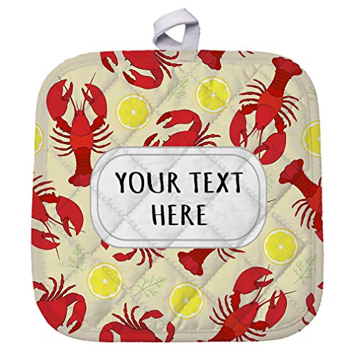 Polyester Pot Holder Custom Crab and Crayfish Seemless Pattern Adults Trivets