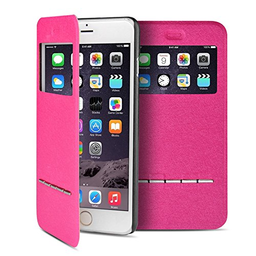 Front Cover Window (TNP iPhone 6s Case (Hot Pink) - Slim Fit Synthetic Leather Smart Window View Metal Front Flip Cover Stand Folio Case for Apple iPhone 6 and iPhone 6S 4.7