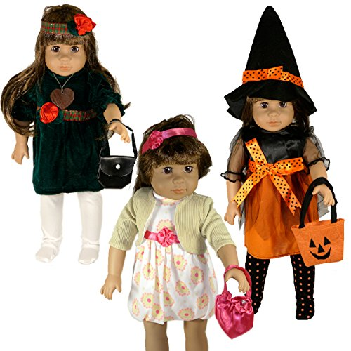 [Doll Clothes for 18 Inch Doll | Fits American Girl Dolls |Set of Three Dress Outfits With Accessories for Holidays * Christmas * Easter * Halloween | With Hand-crafted Wooden Heart] (Doll Outfits Halloween)