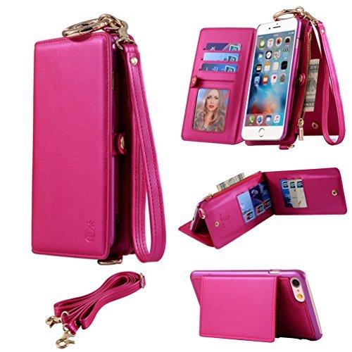 [해외]iPhone 6 6S 고급 PU 가죽 분리형 지갑 케이스 - 클래식 다기능 복고풍 폴리오 플립 케이스, 신용 카드 슬롯 및 지퍼 Cash C 포함/iPhone 6 6S Advanced PU Leather Detacha