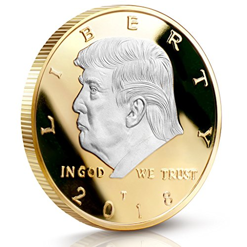 Donald Trump Challenge Coin 2018 - Two Tone Silver on Gold Plated in the Commemorative Collectors Edition Series. Stunning Proof Like Coins. A Michael Zweig Designer Coin for Presidential Mint Commemorative Collection
