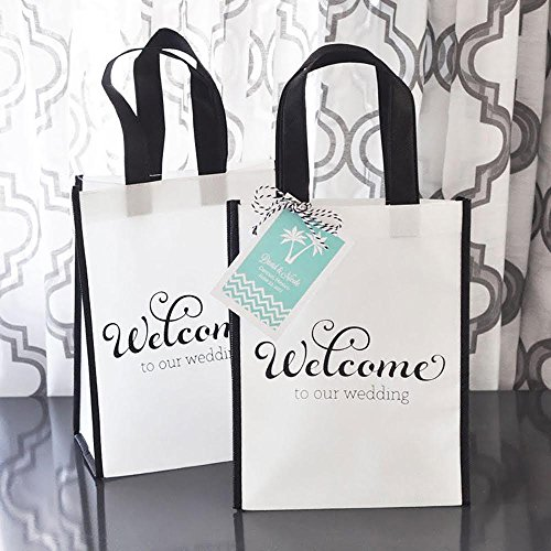 50 'Welcome to Our Wedding' Premium Quality Black & White Welcome ECO Gift Bags for Wedding Hotel Guests & Destination Wedding Party Favors (Gifts For Out Of Town Wedding Guests)
