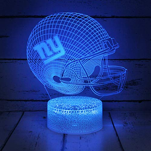Bigfoot 3D LED Night Light Football Helmet New York Giants Flat Acrylic Illusion Lighting Lamp with 7 Colors and Touch Sensor, Sports Fan Nightlight Gift for Kids, Boys, Girls, Men or Women