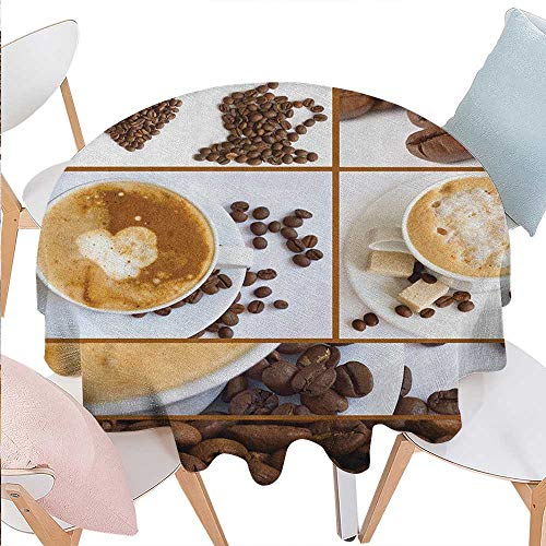 Kitchen Patterned Round Tablecloth Coffee Themed Collage of Beans Mugs Hot Foamy Drink with a Heart Macro Aroma Photo Dust-Proof Round Tablecloth D60 Brown White (Foamies Heart)