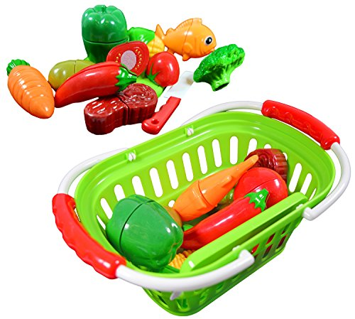 Foods Dinner Play Basket (CoolToys Fruit and Vegetable Cutting Playset in Plastic Grocery Basket (13 Pieces))