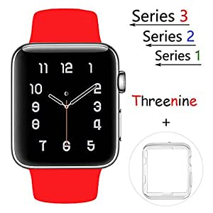 Threenine for Apple Watch Band, Durable Soft Silicone iWatch Strap Replacement Sport Band for Apple Watch Band Series 3 Series 2 Series 1 Sport, Edition (red, 38mm M/L)
