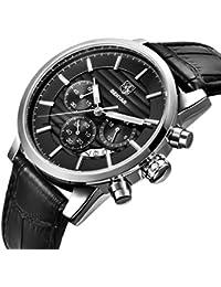 Sports Chronograph Quartz Watches Waterproof Date Black Genuine Leather Strap Business Wrist Watch for Men (L Silver Black B)