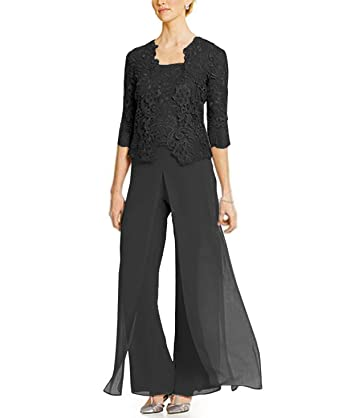 caad5c831b9 Fitty Lell Women s Three Pieces Mother of Bride Pant Suit with Lace Jacket Chiffon  Formal Mothers
