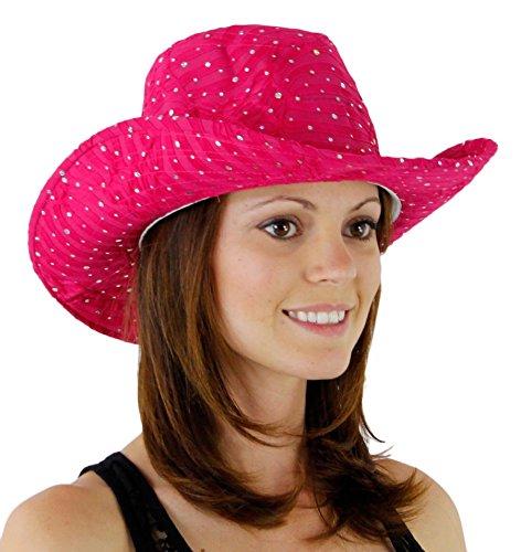 - Glitter Sequin Trim Cowboy Hat Hot Pink One Size