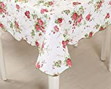 country kitchen table cloth Uforme Country Style Flannel Backed Table Cloth Mildew Resistant and Spill Proof---60 Inches Square Table Cover Vinyl Eco-friendly for Kitchen, Pink/Multi-Color