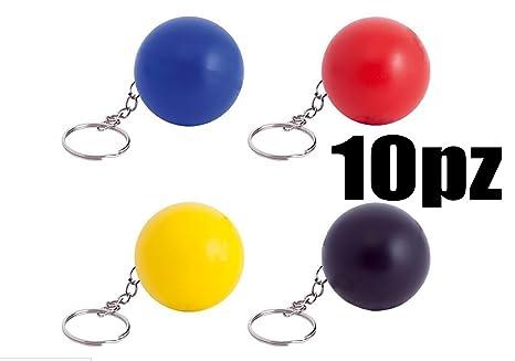 10 piezas Multicolor Llavero con forma de pelota pelota ...