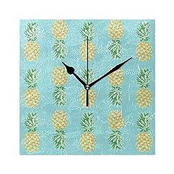 Ladninag Wall Clock Pineapple Tropical Pattern Silent Non Ticking Decorative Square Digital Clocks Indoor Outdoor Kitchen Bedroom Living Room
