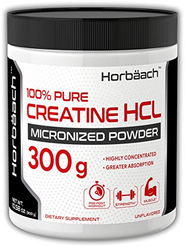 Horbaach Creatine HCI Micronized Powder | 300 Grams | 400 Servings | Huge Size | Highly Concentrated, Pure, Unflavored Laboratory Tested ()