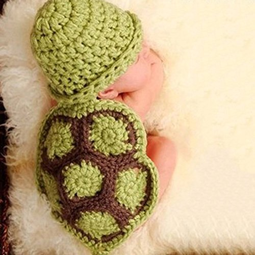 [KAKA(TM) Lovely Newborn Crochet Knitted Baby Costume Baby Photo Photography Prop Clothes-Green Tortoise] (Ipod Costume)