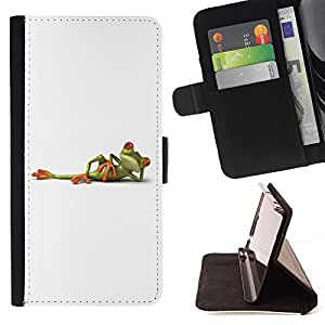 For Sony Xperia Z3 D6603 White Frog Titanic Posing Minimalistic Cute Beautiful Print Wallet Leather Case Cover With Credit Card Slots And Stand Function