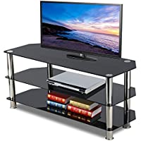 Topeakmart Black Glass TV Stand Chrome Legs 3 Tier Storage Shelves for 60 Inch Flat Screens