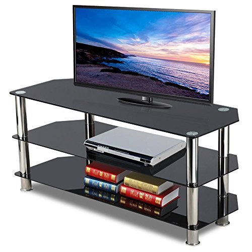 Topeakmart Black Glass TV Stand Chrome Legs 3 Tier Storage Shelves for 60 Inch Flat Screens For Sale