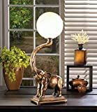 GHP Polyresin & Plastic 72'' Power Cord Trumpeting Elephant Globe Lamp