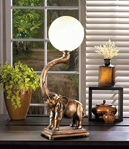 GHP Polyresin & Plastic 72'' Power Cord Trumpeting Elephant Globe Lamp by Globe House Products