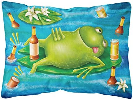 Caroline s Treasures APH0093PW1216 Frog Drinking Beer Fabric Decorative Pillow, 12H x16W, Multicolor