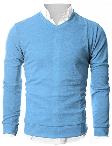 Ohoo Mens Slim Fit Light Weight V-Neck Pullover Sweater/DCP015-SKYBLUE-S