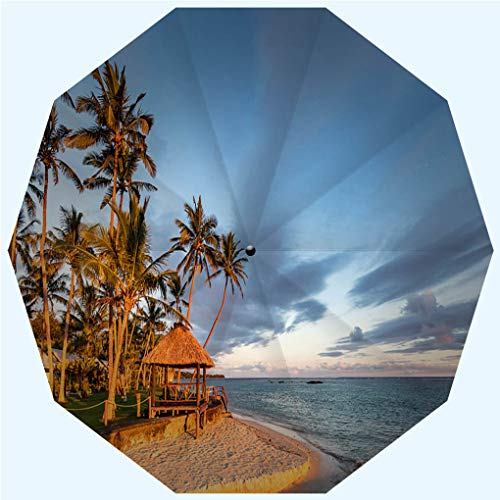 Fashion Travel Umbrella Sun Umbrella UV protection automatic opening and closing, Fiji Island Beach Hut Sunset Coral Coast Viti Levu, windproof - rainproof - men - ladies - versatile - 42 inches