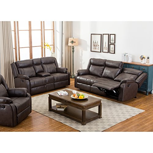 Roundhill Furniture Novia 2PC Leather-Air Living Room Set, Double Recling Sofa & Loveseat, (Leather Living Room Set)