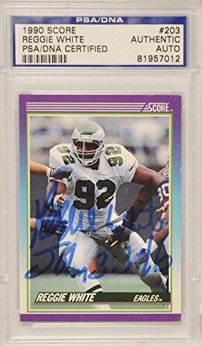 Reggie White Green Bay Packers Autographed 1990 Score Card - PSA/DNA Certified - NFL Autographed Football Cards