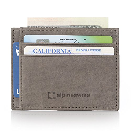 Alpine Swiss RFID Mens Thin Minimalist ID Card Case Slim Front Pocket Wallets 5 Top Styles Horizontal Gray
