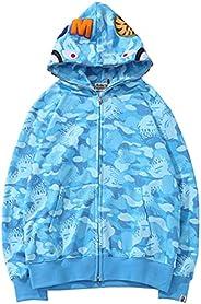 EMLAI Unisex Shark Ape Bape Hoodie Camo Print Cotton Sweater Casual Loose Zip Hoodie Jacket