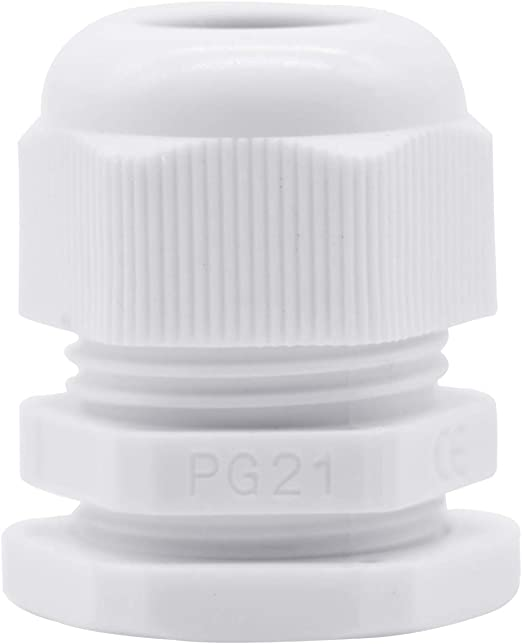 Lantee PG 7 Cable Gland 20 Pieces White Plastic Nylon Waterproof Wire Glands Connector Fitting