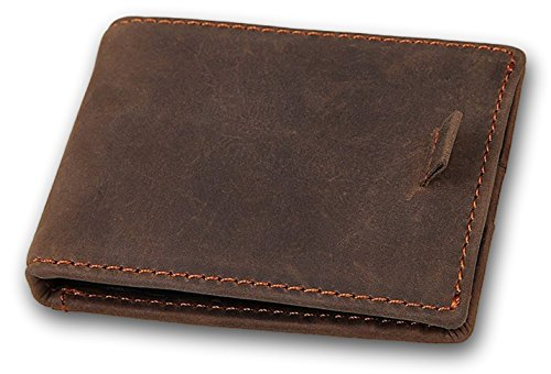 Clean Vintage Men's Leather Wallet Minimalist Card Holder Money Clip (Rustic Money Clip)