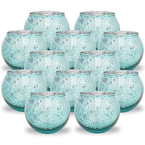 Just Artifacts Round Mercury Glass Votive Candle Holder 2-Inch (Speckled Aqua, Set of 12) - Mercury Glass Votive Candle Holders for Weddings and Home Décor (Blue Light Holders Tea)