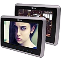 Eincar 2 PCS 10.1 inch Digital TFT LCD Screen Touch Keys Car DVD CD Player Headrest Monitor Support 32 Bits Games HDMI Input 2 Modes to Play AV Input & Output + Game Disc/Wireless Remote Control