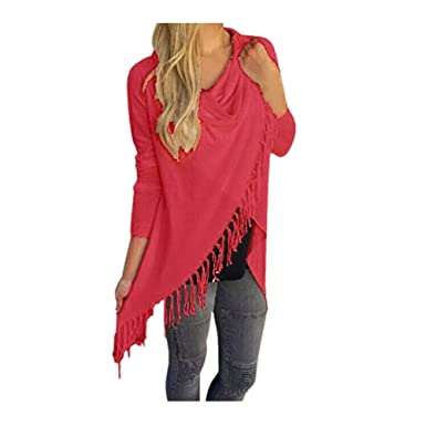 NREALY Blusa Womens Long Sleeve Tassel Hem Crew Neck Knited Cardigan Blouse Tops Shirt(S