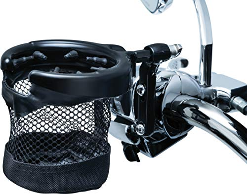 Kuryakyn 1738 Motorcycle Handlebar Accessory: Universal Drink/Cup Holder with Mesh Basket for Clutch/Brake Perch Mount, Gloss Black (Color: Gloss Black)