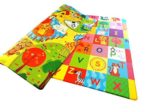 Eve & Rosie Baby Play-Mat – 100% Child Safe, Non Slip Kids-Floor-Mat – Waterproof, Hygienic and Padded, Safe for Toddlers - Medium 72 x 55 x 0.6 Inches