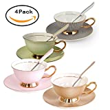 Set of 4 Bone China Ceramic Tea Cup Coffee Cup Set Coffee Cup with Saucer,Golden&Pink&Green&Black