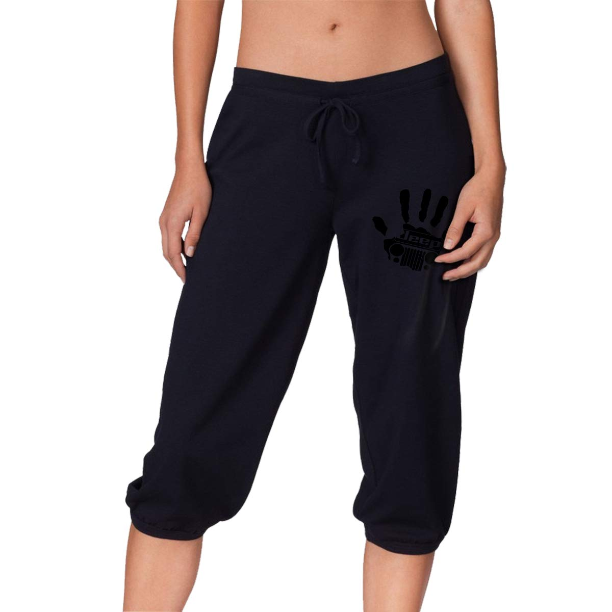 Jeep Womens Pants Casual Drawstring Cropped Trousers with Pockets