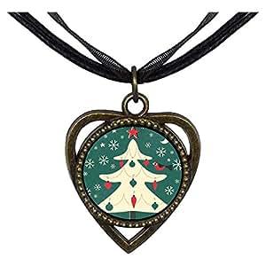 Chicforest Bronze Retro Style Xmas Tree Dangle Gifts Heart Shaped Pendant