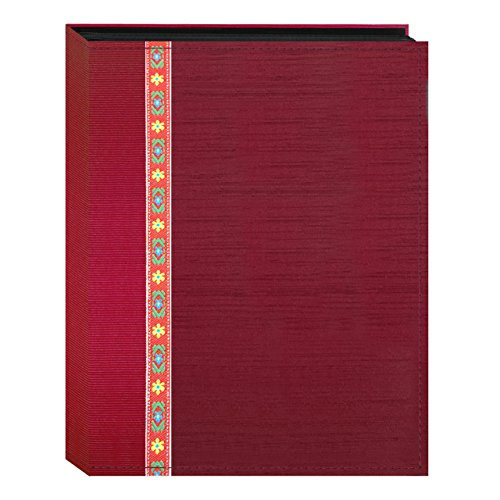 Fabric Ribbon Cover Photo Album 208 Pockets Hold 4x6 Photos, Red