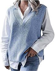 TTivxe Dames V-hals gebreid vest pullunder mouwloos gebreid tanktop casual effen business sweater